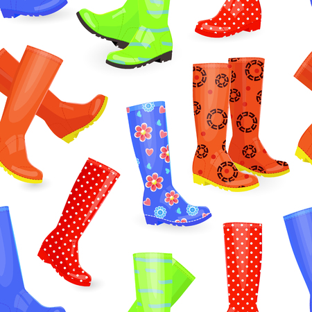 wellie: seamless texture with fashion collection of rubber boots different colors and patterns Illustration