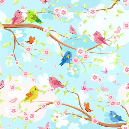 Colorful seamless texture with enamored birds on branches blossom of cherry.
