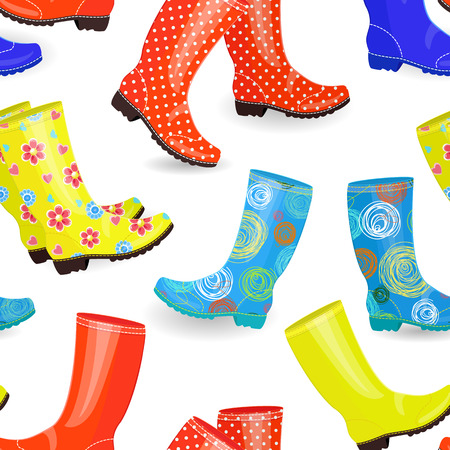 gumboots: Seamless texture with fashion collection of gumboots different colors and patterns