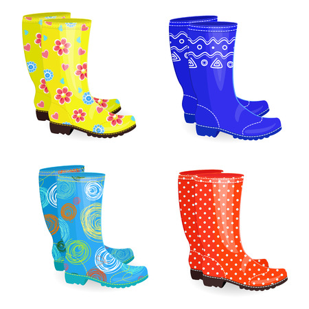 Fashion collection of rubber boots different colors and patterns Illustration