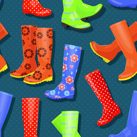 Seamless texture with funny collection of gumboots different colors and patterns