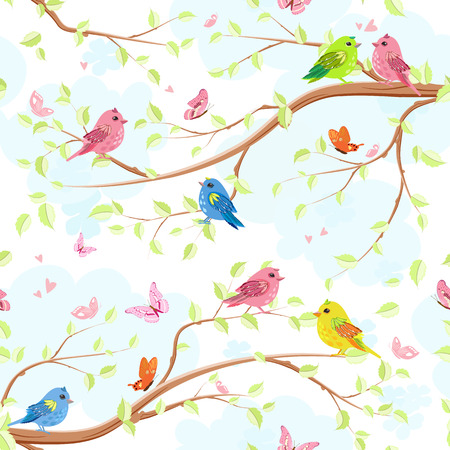 enamoured: Seamless texture with enamoured pretty birds on trees Illustration