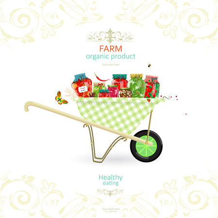retro banner with tasty pickled foods on garden cart for your design