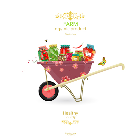 preserve: banner with delicious pickled foods on cute garden cart for your design Illustration