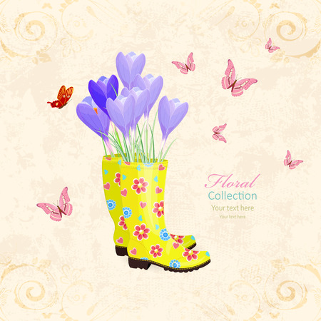 antique banner with lovely flowers in rubber boots for your design