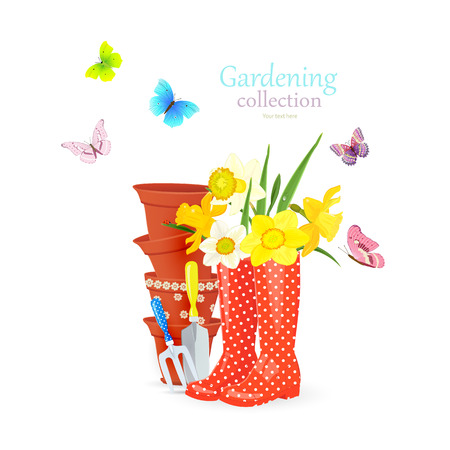 fashion card with lovely flowers in rubber boots and stacked of flowerpots, garden tools on white background