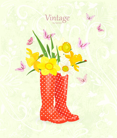 working animals: funny greeting card with bouquet of daffodils in rubber boots for your design