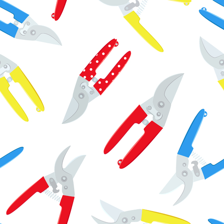 seamless texture with gardening secateurs on white background