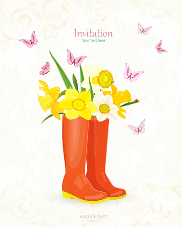 retro banner with bouquet of daffodils in rubber boots for your design Illustration