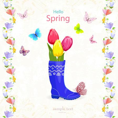 borde de flores: Tarjeta de primavera agradable con ramo de tulipanes en botas de goma para su diseño
