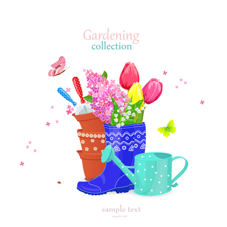 beautiful gardening collection with spring flowers