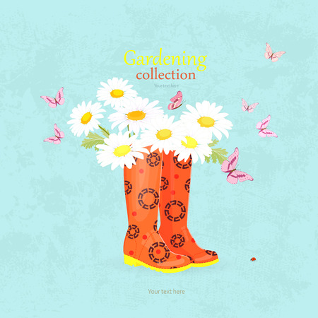 romantic invitation card with lovely flowers in rubber boots for your design