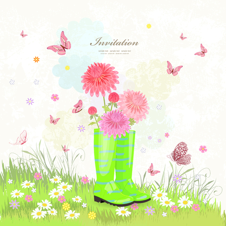 summer scenery with lovely flowers in rubber boots for your design Illustration