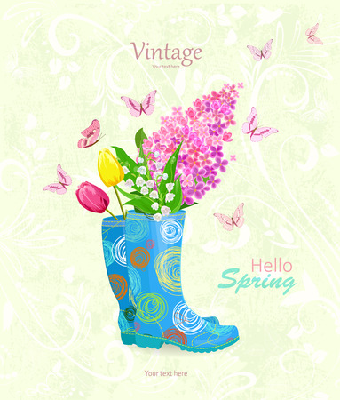 vintage banner with bouquet of spring flowers in rubber boots for your design