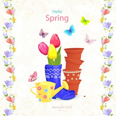 Beautiful gardening arrangement with spring flowers and seamless beautiful gardening arrangement with spring flowers and seamless borders stock vector 72684139 mightylinksfo