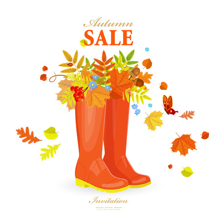 Autumn greeting card with colorful fall leaves in rubber boots