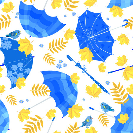 fall leaves on white: Pretty seamless texture with blue umbrellas and fall leaves on white background