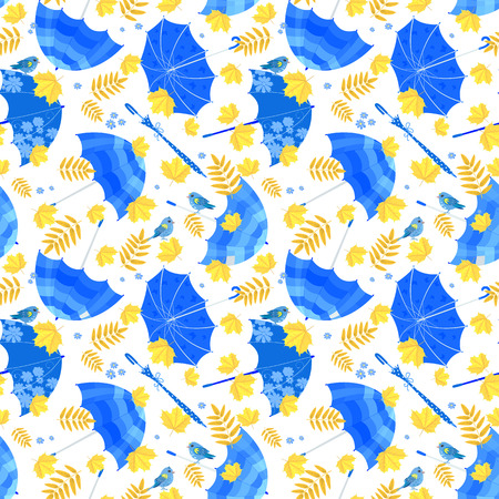 fall leaves on white: seamless texture with blue umbrellas and fall leaves on white background