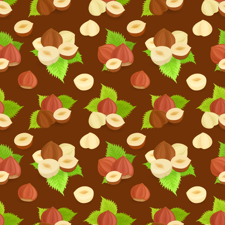seamless texture with groups of hazelnuts and leaves on brown background