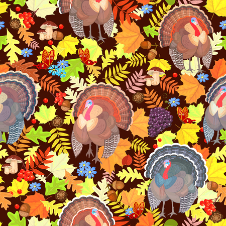 Thanksgiving seamless pattern with cute turkeys and autumn leaves