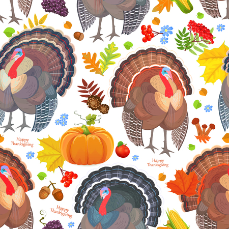 Colorful Thanksgiving day seamless pattern with cute turkeys.