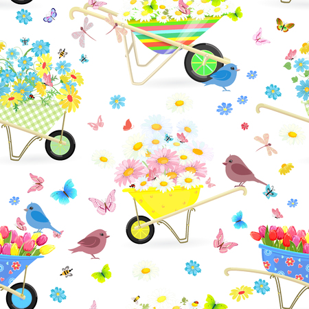 daisy wheel: Seamless texture with wheelbarrows full of flowers for your design Illustration