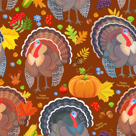Seamless pattern with cute turkeys. Happy thanksgiving day
