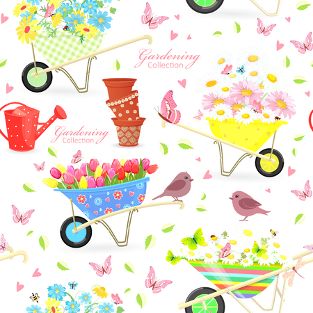 daisy wheel: Nice seamless texture with gardening wheelbarrows full of flowers for your design Illustration