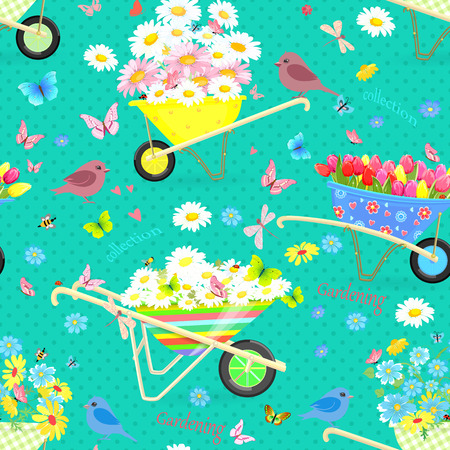 daisy wheel: Teal seamless texture with wheelbarrows full of flowers for your spring design Illustration