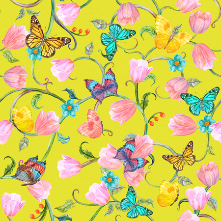 texture fantasy: colorful seamless texture with floral fantasy. watercolor painting
