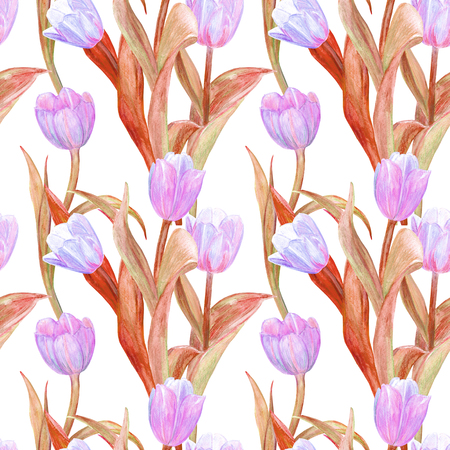 fashion seamless texture with fantasy tulips for your design. watercolor painting