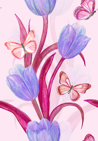 elegant seamless texture with fancy tulips and butterflies for your design. watercolor painting Stock Photo