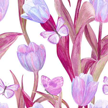 animal print: fashion seamless texture with lovely tulips and butterflies for your design. watercolor painting