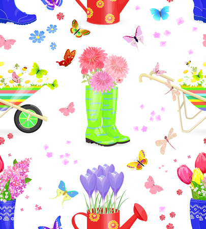Lovely seamless texture with bouquets of fresh flowers in gardening equipments