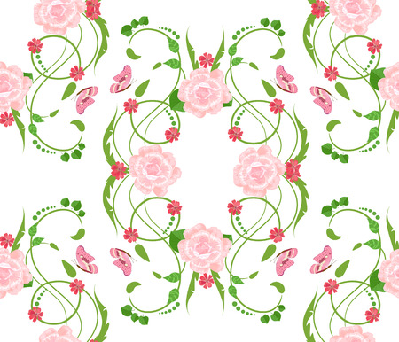 animal silhouette: Abstract floral seamless texture with roses for your design