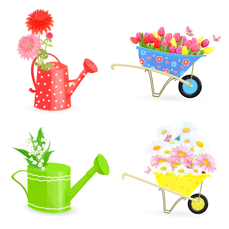 lovely collection bouquets of fresh flowers in gardening equipments for your design