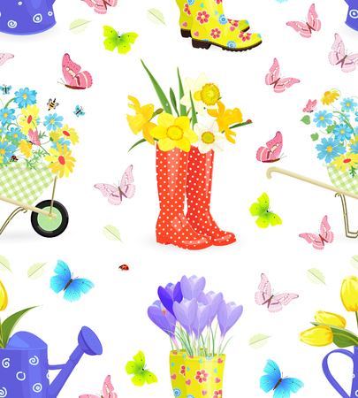 fresh flowers: Seamless texture with bouquets of fresh flowers in gardening equipment