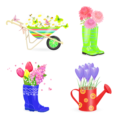 fresh flowers: Funny collection bouquets of fresh flowers in gardening equipments for your design