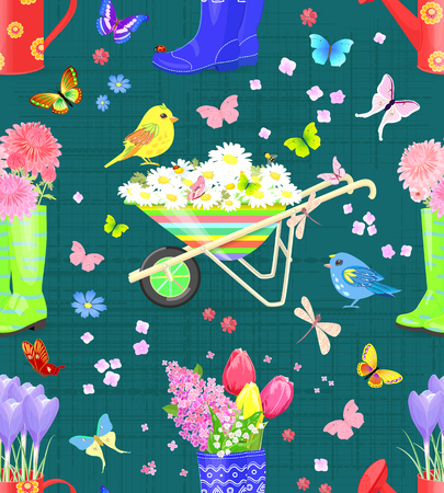 vintage seamless texture with bouquets of fresh flowers in gardening equipments and colorful birds Illustration