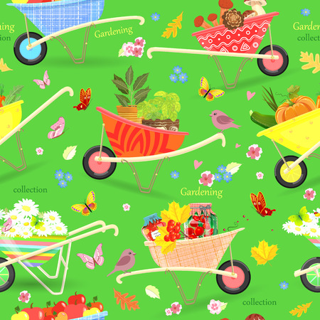 vegetable gardening: funny seamless texture with vegetables, fruits, food and flowers in gardening wheelbarrows