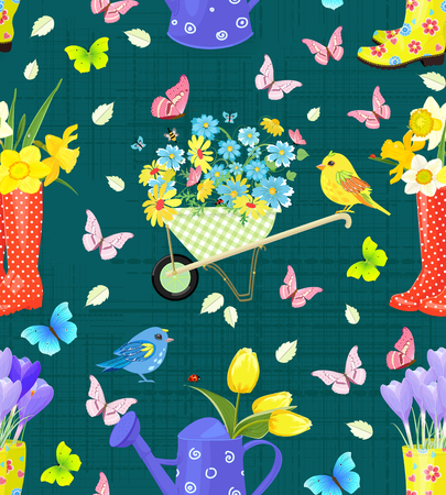 fresh flowers: cute seamless texture with bouquets of fresh flowers in gardening equipments