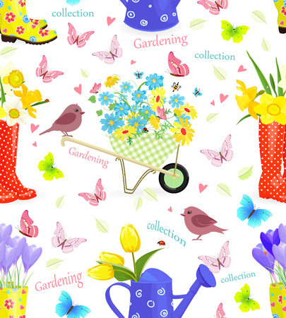 fresh flowers: Lovely seamless texture with bouquets of fresh flowers in gardening equipments and birds Illustration