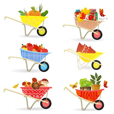 Collezione graziosa di diversi raccolti e cibo in carriole da giardinaggio per il tuo design Vettoriali
