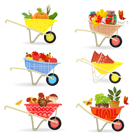 Graceful collection of different harvest  and food in gardening wheelbarrows for your design Çizim