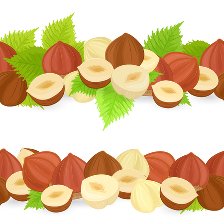 collection of horizontal seamless borders with hazelnuts on white background