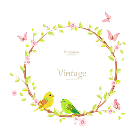 gracefully floral wreath with blooming sakura and pretty birds