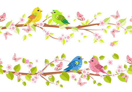 a bough: spring collection of floral seamless borders with cute birds for your design Illustration