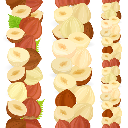 collection of isolated seamless borders with hazelnuts on white background