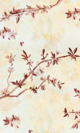 japanese garden: graceful vertical banner with almond blossom flowering twig. watercolor painting