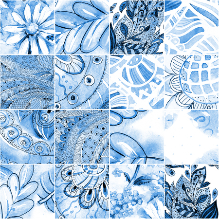 watercolor texture: fashion seamless texture with blue floral patchwork pattern. watercolor painting Stock Photo